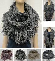 Knitted Infinity Scarf with Fringe [Tight Knit-Variegated]